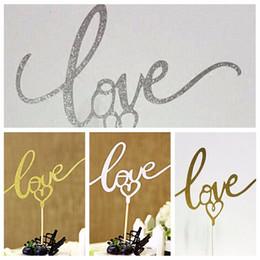 Discount love letter decorations - New Fashion festival Wedding Decoration Silver Gold Sparkle Glitter Letter Love Cake Topper