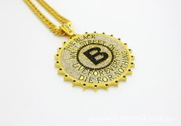 24k necklace pendants for men online shopping - Black Wall Street High Quality K Gold Silver Plated Necklace B Letter Hip Hop Round Big Necklace for Rapper Men Fashion Jewelry