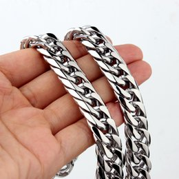 $enCountryForm.capitalKeyWord NZ - 9 11 13 16 19 21mm Halloween Jewelry Gift 316L Stainless Steel Silver Cuban Chain 7''-40''Men's Women's Necklace Or Bracelet