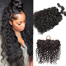 Unprocessed Wholesale Human Hair Australia - Wet And Wavy Human Hair Bundles With Lace Frontal Closure Unprocessed Water Wave Human Hair Weave With 13X4 Top Lace Frontal