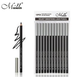 Tracking Pen Australia - HOT 1Set M.n Menow black Eyeliner Pencil Waterproof Eyebrow Beauty Pen Eye Liner Pencil 12pcs set all black P127 With Tracking