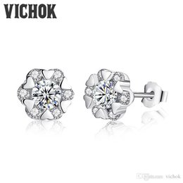 0dea7d4f5 Korean Style Stud Earrings Canada - Korean Style Fashion Snowflake Bling  Zircon Earrings Sterling silver 925