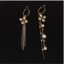 Discount gold diamond pearl chandelier earrings gold diamond pearl gold diamond pearl chandelier earrings 2018 2017 new 18k gold plated tassel earrings for women aloadofball Image collections
