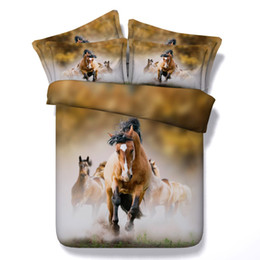 horse bedding sets full size 2019 - Wholesale-3d 100%cotton 5pcs animal unicorn horse bedding set with filling twin full queen king super king size home tex