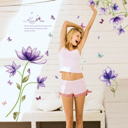 PurPle wallPaPer for bedroom walls online shopping - Fancy Purple Floral Wall Sticker Wallpaper Wall Picture Art Vintage Room Home Decor Kitchen Accessories Household Craft Suppllies