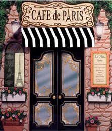 Venta al por mayor de 5x7FT Cafe De Paris Retro Stone Coffee Store Patrón de la Torre Eiffel Estudio fotográfico personalizado Fondo de telón de fondo de vinilo 220 cm x 150 cm