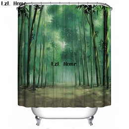 Discount nature curtains - LzL Home 3D Shower Curtain Nature Scenery Eco-friendly Bath Curtain Bathroom Waterproof Bathroom Products Bath Screen