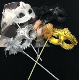 Feathers masquerade ball online shopping - Venetian masquerade Dance Ball Mask Wedding Party Fancy Dress eyemask On Stick Masks Lily Flower Lace Feather Held Stick Mask