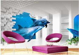 Discount Dolphin Bedroom Decor   3d Wallpaper Mural Decor Photo Backdrop 3d  Underwater World TV Setting
