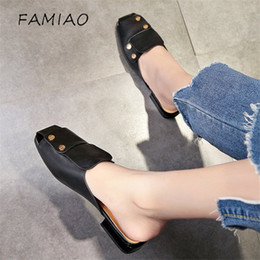 f3bc0086a FAMIAO Fashion Amelia Leather Beach Sandals Mules Slip On Rivet Pearl  Crystal Studded Slippers Women Flat Slides Caged Shoes