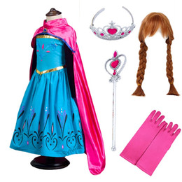 Discount yellow hair movie - Anime Snow Queen Anna Cosplay Costume with Hair Wig Crown Wand Glove Accessories Children Girls Princess Anna Dress Clot
