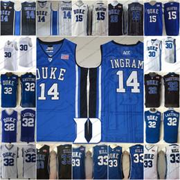 Ingram Basketball Jerseys NZ - Duke Blue Devils  14 Brandon Ingram 15  Jahlil Okafor 30 36735af5c