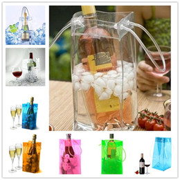 cool sports bags wholesale Canada - Durable Transparent PVC Wine Ice Cooler Rapid Beer Cooler Ice Bag Portable Outdoor Sports Frozen Bags Champagne Wine Ice Bag & Handle
