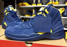 Mesh Fiber Australia - 2018 12 RTR Michigan NRG PSNY 12S Men Basketball Shoes Authentic Collego Navy Amarillo BQ3180-407 Real Carbon Fiber Sports Sneakers With