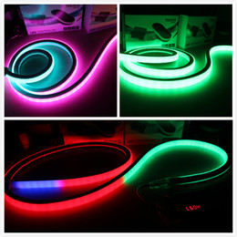 Rgb flex neon lighting online shopping - 50m spool v digital neon rgb led strip chasing neon flex top view square x17mm christmas pixel light smd dmx