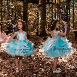 wedding cupcakes purple 2018 - Light Sky Blue Knee Length Ball Gown Flower Girls Dresses 2018 Cupcakes Lace Cap Sleeves V Back Short Little Girls Pagea