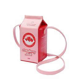 $enCountryForm.capitalKeyWord NZ - Strawberry Milk handbag for girl pink Milk Box bag women PU leather Messenger Bag personality cute Crossbody XPU1180