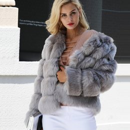 cf9b872b34a7 Plus Size Womens Clothing White Red Black Gray Blue Faux Fur Coat Fuzzy Coat  Long Sleeve Short Fox Fur Jacket Fluffy Outerwear