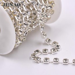 Glass Clothes NZ - JUNAO SS28 Sewing Clear White Glass Rhinestones Cup Chain Metal Trim Silver Base Crystal Appliques For DIY Jewelry Clothes
