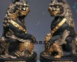 "$enCountryForm.capitalKeyWord Canada - free 14""Ming China Palace Bronze 24K Gold Gild Silver Guardian Fu Foo Dog Lion Ball Statue"