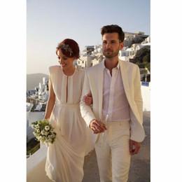 $enCountryForm.capitalKeyWord Canada - Custom Ivory Linen Men Suits 2018 Wedding Groom Suit Men Blazer Bridesgroom Suits Sets(Jacket+Pants) Prom Wear