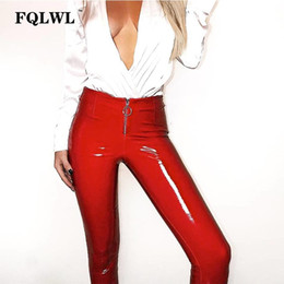 FQLWL Pvc PU Leather Pencil Pants Women High Waist Zipper Casual Bodycon Trousers 2018 Summer Streetwear Pantalon Femme Leggings