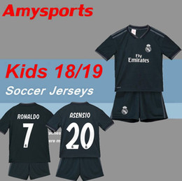 1313dda0f kids kit 2018 2019 Real Madrid away Soccer Jersey 18 19 youth boy Child RONALDO  Soccer shirt 2019 Modric KROOS ISCO ASENSIO BALE Football