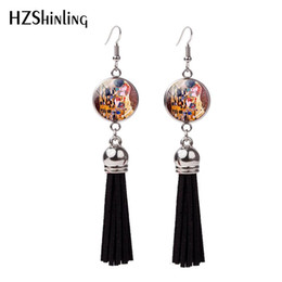 $enCountryForm.capitalKeyWord Australia - 2018 New Gustav Klimt The Kiss Tassel Earring Mother And Child Painting Fish Hook Earrings Silver Jewelry Glass Dome Earbob NHE-0107