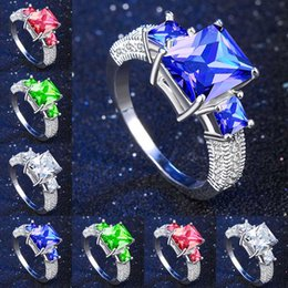 blue gem engagement rings 2019 - Top Quality Princess Blue Gem Created Blue Crystal Silver Color Wedding Finger Crystal Ring Brand Jewelry for Women drop