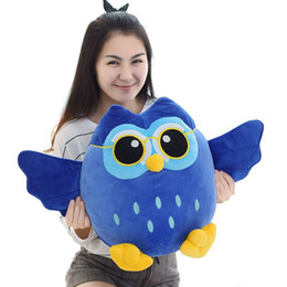 Discount soft plush stuffed toy owl Soft Plush Cartoon Blue Grey Purple Owl Toy Stuffed Doll Creative Children Kids Baby Birthday Kawaii Dolls Gift Home Sho
