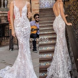 v neckline mermaid wedding dress 2019 - 2018 Berta Bride Mermaid Backless Wedding Dresses Sexy Spaghetti V Neckline Full Lace Appliqued Trumpet Plus Size Custom