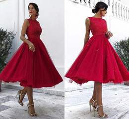 Tulle calf lengTh dress online shopping - Dark Red Midi Length Prom Dresses Bateau Neck Sleeveless Lace Tulle Calf Length Party Dresses Evening Gowns Zipper Up