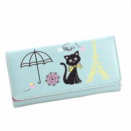 $enCountryForm.capitalKeyWord NZ - 2017 Hot Sale Brand new Wallet bags fashion Women Girl Cat Tower printed Coin Purses Long leather Card Holder Handbag 1pcs