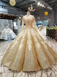 $enCountryForm.capitalKeyWord Australia - 2019 Shiny Golden Curve Shape Evening Dresses Special O-Neck Long Tulle Sleeves Lace Up Floor Length Ball Gown Bling Evening Party Dresses