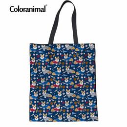 $enCountryForm.capitalKeyWord Australia - Coloranimal Cute Welsh Corgi Canvas Handbag Beach Travel Shopper Reusable Tote Bag Cute Puppy Dog Print Women's Casual Linen Bag
