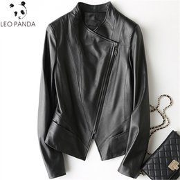 27dadd086aa Spring Autumn Women Genuine Leather Jacket 2018 Fashion Sheepskin Coats  Slim Black Turn Down Collar Motorcycle Jackets Female