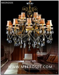 Discount chandelier crystal lampshades HOT! Big crystal chandelier light fixture antique brass Large suspension lustres chandelier lamp with lampshade MD8504-L