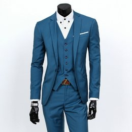 Chinese  Men's Slim-fit Formal 3-piece Suit, Consisting of Jacket, Vest and Pants. Elegant, Available In A Variety of Plain Colors S 3XL manufacturers
