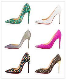 chaussures de marque rouge sloe femmes pompes chaussures à talons hauts rivet bout pointu talon dame chaussures de mariage de fond pour la fête de la mode rouge