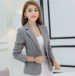 $enCountryForm.capitalKeyWord Canada - Office Uniform Designs Womens Spring Autumn Short Blazer Coat Gray Blue Red Woman Long Sleeve Blazer Slim Jacket Mujer