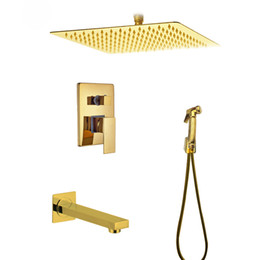 $enCountryForm.capitalKeyWord Canada - Wall Mounted 8 Inch Golden Rain Shower Faucet Dual Handles With Handheld Shower