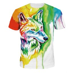 db453a685 Fashion T-Shirt For Men And Women Summer Casual 3D Print Colorful Wolf  Short Sleeve Simple High Quality Lover Tops Tees NA329