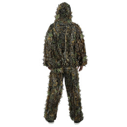 dcc5994a85b Открытый охота 3D лиственный охота лесной камуфляж джунгли бионический  камуфляж одежда костюм набор Hotsale высокое качество Бесплатная доставка VB