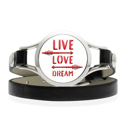 plated bracelet arrow Canada - Hand Stamped LIVE LOVE DREAM 25 30mm 316L Stainless Steel Arrow Essential Oil Diffuser Locket Black Leather Band Bracelet With 10 Free Pads