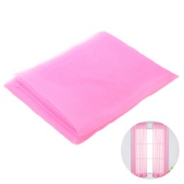 Fabrics Wedding Curtain UK - Solid Color Transparent Tulle Window Sheer Window Screen Voile Curtains for Wedding Bedroom 100x200cm (Pink)