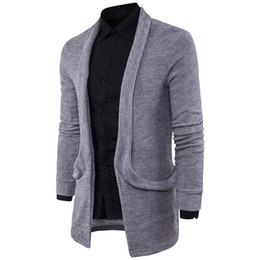 Chinese  New Men Cardigans Coat Long Sleeve Knitted Sweater Male Slim Fit Tops Thin Autumn 571 manufacturers