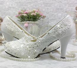 elegant brides shoes 2019 - Hot! Women's elegant lace wedding shoes high heel platform crystal bride white flowers pearl rhinestone shoes cheap