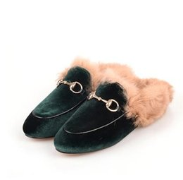 China 33-43 big size!Ladies luxury fur mule slippers leather flat Suede shoes Flower snake mule fashion outdoor slippers fall And Winter shoes 445 suppliers