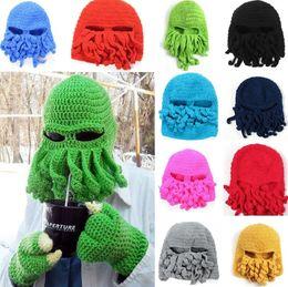 9ca1831b0befd Novelty Handmade Knitting Beanies Wool Beard Octopus Hats Winter Hats  Crochet Funny Beanies Ski Face Mask Knitted Hat Christmas Gift B0870