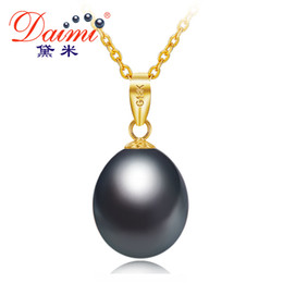 natural black pearls Canada - DAIMI Black Pearl 18K Yellow Gold Pendant Natural Freshwater Pearl Pendant Necklace 45cm Gift For Women Y1892805